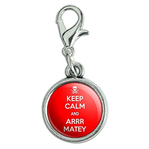 (Antik Armband Anhänger Charm Zipper Pull Anhänger mit Karabinerverschluss Keep Calm und A Arrr Matey Pirate Skull - Keep Calm and)