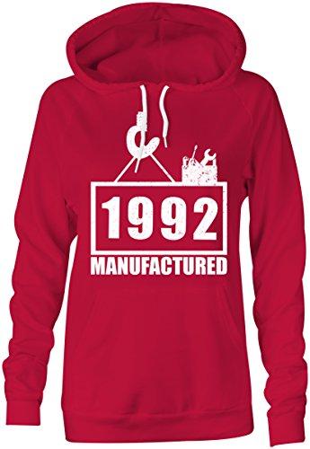 Manufactured 1992 - Hoodie Kapuzen-Pullover Frauen-Damen - hochwertig bedruckt mit lustigem Spruch - Die perfekte Geschenk-Idee (04) rot