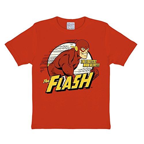 dc-flash-the-fastes-man-alive-t-shirt-per-bambini-stampa-a-colori-logo-in-retro-style-rosso-122-134