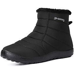 gracosy Botas Nieve Mujer de Piel Invierno Calientes Botines Planos Zapatos Cremallera Impermeable Botas Antideslizante Casuales Negro