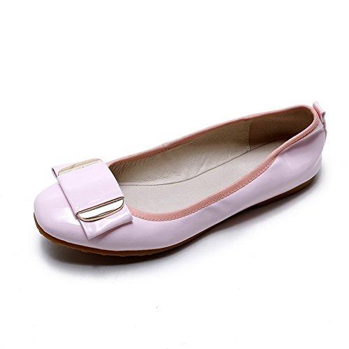 AgooLar Femme Tire Rond Non Talon Matière Mélangee Couleur Unie Chaussures à Plat Rose