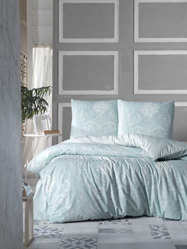 ZIRVEHOME Wende Bettwäsche 240x220 cm. Baumwolle/Renforcé, Barock Muster, Gestreift Muster, Grün Farbe, Reißverschluss, Model: Alone V2