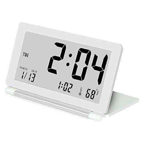 Analoge Lcd (Delmkin LCD Wecker Ultra-dünne Klapp-Reisewecker Tragbare Digitale Wecker (weiß))
