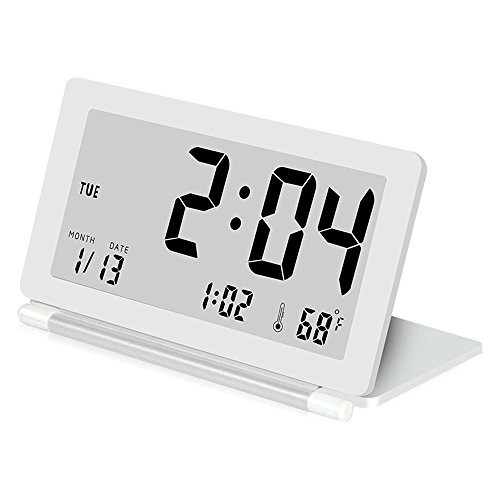 Delmkin LCD Wecker Ultra-dünne Klapp-Reisewecker Tragbare Digitale Wecker (weiß)