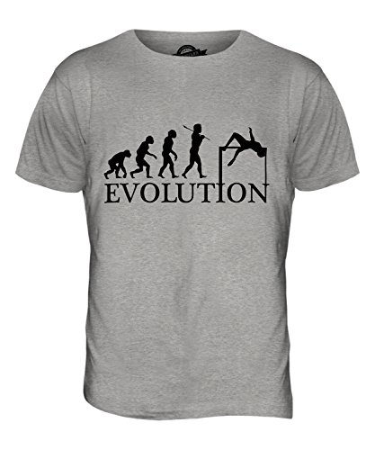 CandyMix Hochsprung Evolution Des Menschen Herren T Shirt Grau Meliert
