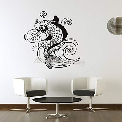 zqyjhkou Koi Karpfen Wirbelt Wandaufkleber Karpfen Teich Fisch Coi Tier Wandtattoos Wohnzimmer Badezimmer Dekor Abnehmbare Kunst Tapete Ea097 42x47 cm