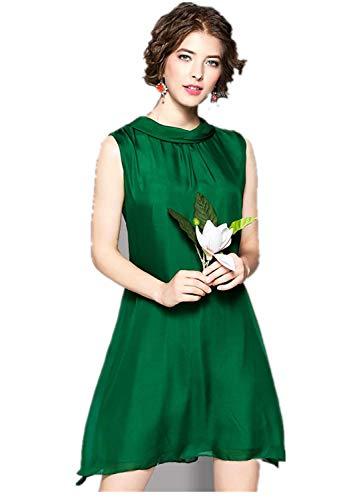 Susichou Qipao Frauen Mode Temperament einfarbig Seide Kragen a-line Rock Sleeveless Frauen Dress -