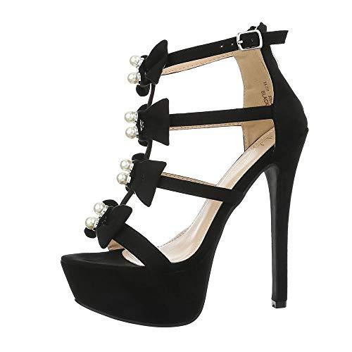 Ital-Design Damenschuhe Sandalen & Sandaletten High Heel Sandaletten Synthetik Schwarz Gr. 35