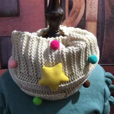 Stil Wolle Schal (MINMINA Kinder Schals Herbst und Winter warme Schal koreanische Version des Kragens Jungen und Mädchen Wolle Schal gestrickt Sternen Baby Schal, beige)