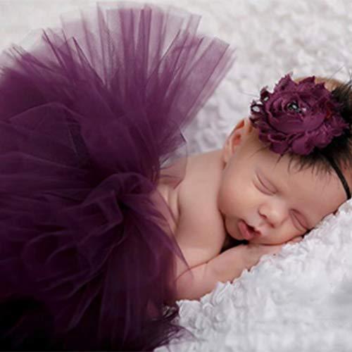 sin Neugeborene Fotografie Props Baby-Kostüm-Ausstattung mit Blumen-Stirnband-Baby-Sommer-Kleid lila ()