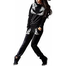 Mujer Chándal 2Pcs Conjuntos Deportivos Manga Larga Casual Impresión Sweatshirt + Pantalones