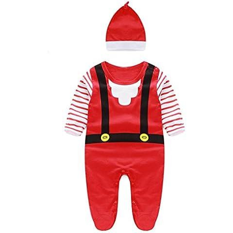Kingko® Moda bambini tuta infantile del bambino delle ragazze dei ragazzi di Natale pagliaccetto + cappelli la tuta Outfits Abbigliamento