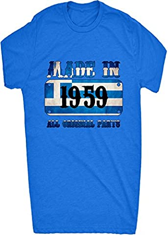 Renowned Made in Greece in 1959 All Original Parts Mens T Shirt - Blue - X-Large