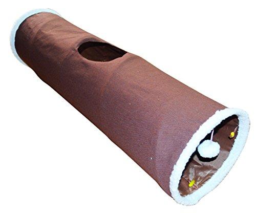 Katzen Spieltunnel braun 90x25cm Popup Katzentunnel