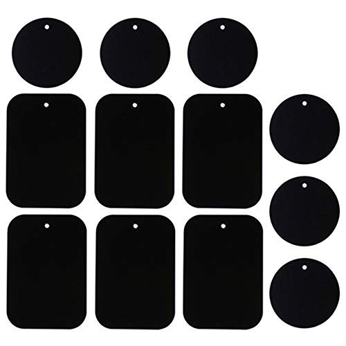 Universal Metal Plate 12 Pack for Magnetic Phone Car Mount Holder Cradle with 3M Adhesive (Compatible with Magnetic Mounts) - 6 Rectangle and 6 Round, Black