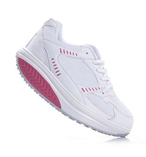 Scarpe donna sneaners fitness dimagranti sportive ginnastica (39, bianco/fuxia)