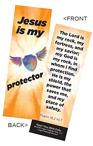 Lesezeichen für Kinder, christlich, Jesus is My Protector, Psalm 18,2, 25 Stück