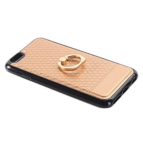Phone case & Hülle Für IPhone 6 / 6s, Grid Texture PU Paste Haut TPU Schutzhülle mit Ringhalter ( Color : Gold ) Gold