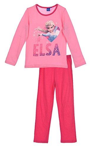 Disney Frozen Die Eiskönigin Kinder Pyjama (2229) -ELSA & Anna Schlafanzug Set für Mädchen mit Langarm Oberteil und Schlafanzughose mit Disney Frozen Motiven, rosa/pink, Größe: 116