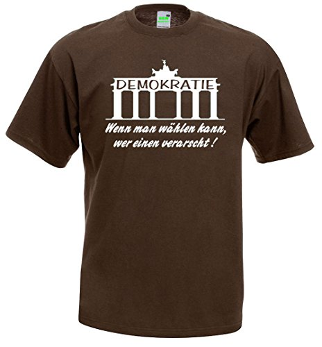 Protest T-Shirt | Bürgerbewegung | Demokratie | Pegida | Demo | Brustdruck | weißer Flock Braun