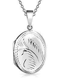 Bling Jewelry pulidas medallón colgante Oval grabado Collar de plata esterlina de 18 pulgadas