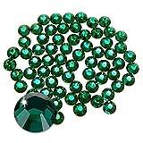 Jollin Hot Fix Cristal de Espalda Plano Vidrio pedrería Gemas de diamantes redondos Strass para decoración de uñas, SS20 576pcs, Verde oscuro