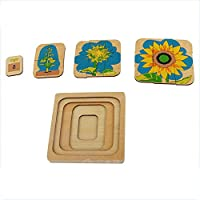 Wumudidi Montessori Sunflower 5-layer growth puzzle, Wood Toy Kid Baby Toys Life Cycle Puzzles toy(7inch*7inch)