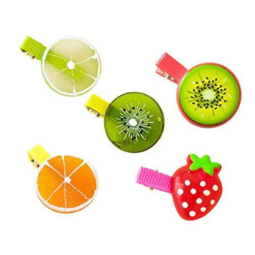 qingsb Haarspange für kleine Mädchen, Obst-Design, Karotte, Ananas, Apfel, Haarschmuck, 5 Stück, zufällige Muster
