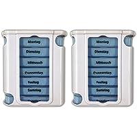 Preisvergleich für 2er Set Pillendose für 7 Tage inkl. Tablettenteiler | Pillendose Medikamentenbox