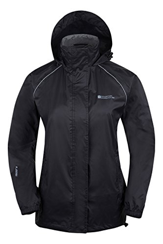 Mountain Warehouse Pakka Womens Waterproof Packable Jacket with Foldaway Hood and Pockets - Lightweight and Breathable Black 16