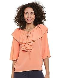 FEMELLA Fashion's Peach Ruffle Top