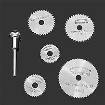 JTENG 6pc hoja de sierra circular HSS vio la herramienta rotatoria Dremel Cuchillas discos de corte Adecuado para la Madera, plástico, fibra de vidrio, cobre, aluminio y metal Hoja delgada
