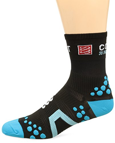 Compressport Racing Socks V2.1 Run Hi Calzino Corsa da Gara e Allenamento, Nero (Black/Blue), T2