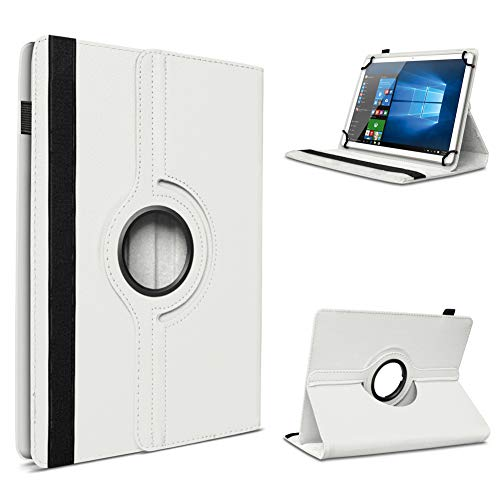 UC-Express Tablet Schutzhülle für 10-10.1 Zoll Tasche aus hochwertigem Kunstleder Standfunktion 360° Drehbar Universal Case Cover, Farben:Weiß, Tablet Modell für:Acepad A96