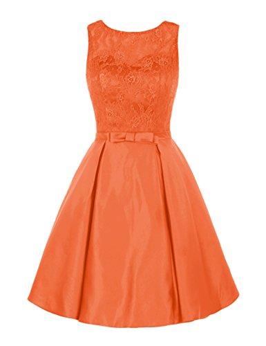 Find Dress Rétro Vintage 40s 50s 60s Femme Elégant Robe de Soirée/Cérémonie/Cocktail Mariage Courte en Satin Orange