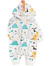 Wetry - Bebé Niños Niñas Mono Dinosaurio Mameluco con Capucha Manga Larga Peleles Algodón Pijama Infantil Traje de Dormir Recién Nacido Onesie