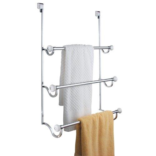 InterDesign 73410EU York Handtuchhalter zum Hängen über die Duschtür, weiß/chrom (Weiße Bettwäsche-badewanne)