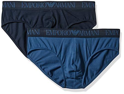 Emporio Armani Herren Endurance 2-Pack Brief Unterhose, Marine/Cobalt, Small