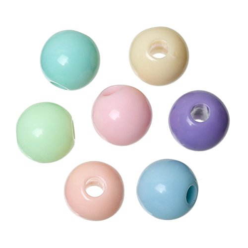 Sadingo Acrylperlen, Kunststoffperlen Pastellfarben - 100 Stück - Ø 8 mm - Zufälliger Mix - Perlen zum Schmuck basteln
