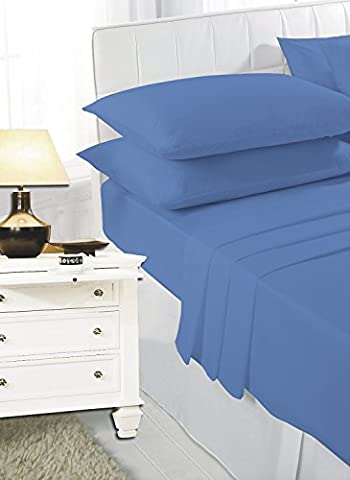 Luxury PollyCotton Plain Flat Sheet (Super King, Mid Blue)