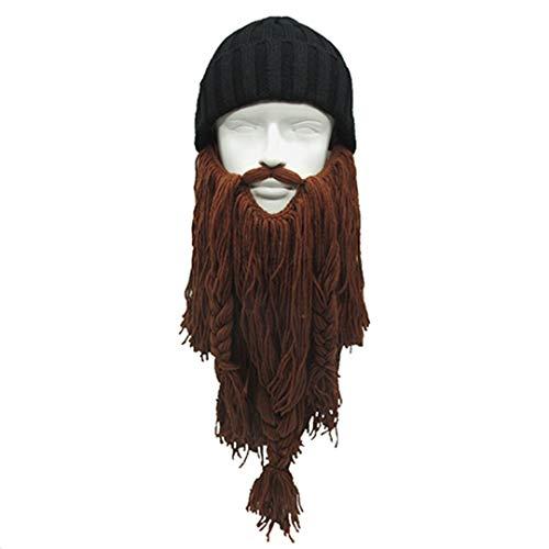 Cool Kostüm Caveman - Funny Winter Warm Unisex Viking Hut Die ursprüngliche Barbar Vagabund Stricken Caps Lange Bart Beanie Coole Party Geburtstagsgeschenk Camel
