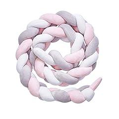 Idea Regalo - YDFYX intrecciato paraurti, annodato e imbottito, per neonati, decorazione per stanza del bebè, regalo per neonati, biancheria da letto decorativa (Bianco + grigio + rosa, 2m)
