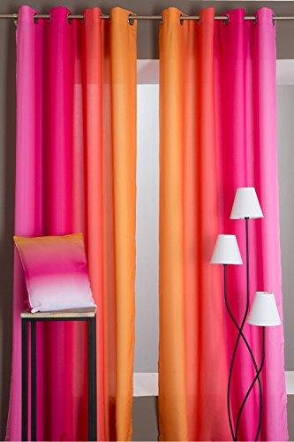 Par de Cortinas para Ventanas Altas 140 x 280 cm Degradado Multicolor 140 x 280 cm Fucsia