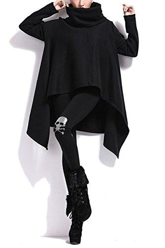 LATH.pIN femme coupe cascade transition veste manteau coupe trench automne cape irrégulière sweat-shirt à capuche homme Noir - Noir