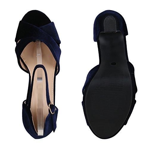 Damen Sandaletten Plateau Blockabsatz High Heels Schuhe Blau Velours
