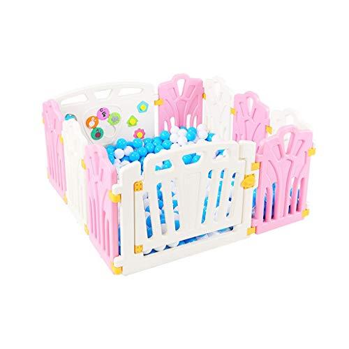CYLQ Baby Spielzaun, Kinder Sicherheit Aktivität Center, Kunststoff Panel Tragbar Innen Draussen Freistehend Schützender Laufgitter 3 Farben, 111 * 112Cm (Color : C)