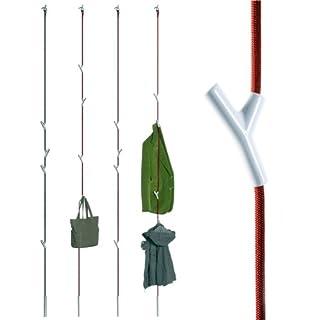 Authentics Wardrope Garderobe Seil Rot, 4 Haken Weiß