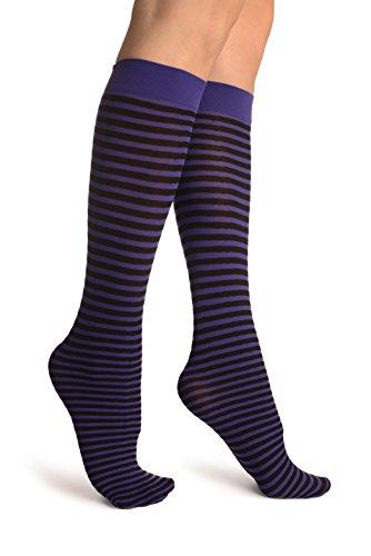 Thin Stripe Socks (Black & Dark Purple Thin Stripes Socks Knee High - Violett Socken Einheitsgroesse (37-42))