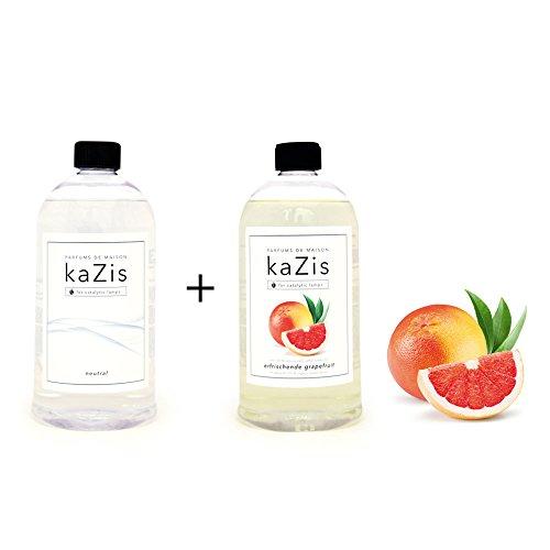 KAZIS I Duft-Set I Passend für alle katalytischen Lampen I Neutral + Grapefruit I Nachfüll-Öl I 2 x 1000 ml I 2 x 1 Liter