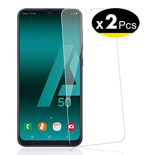 NEW'C Pack de 2 Samsung Galaxy A50, Samsung Galaxy A50s, Film Protection écran - Anti Rayures - sans Bulles d'air -Ultra Résistant (0,33mm HD Ultra Transparent) Dureté 9H Glass
